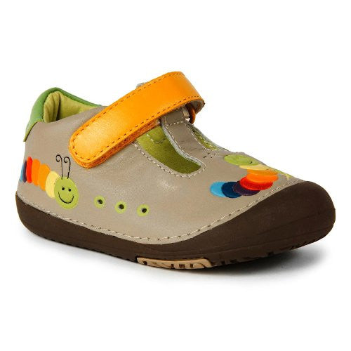 Momo Baby Leather Shoes with Flexible Rubber Sole - Rainbow Caterpillar Tan Size 4.5
