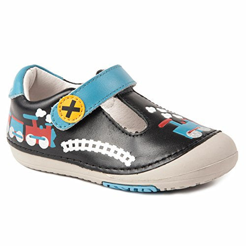 Momo Baby Leather Shoes with Flexible Rubber Sole - Train Black Size 6.5