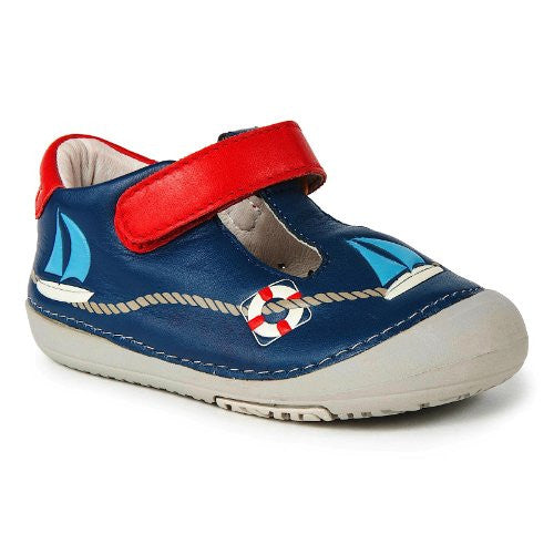 Momo Baby Leather Shoes with Flexible Rubber Sole - Sailor Navy Size 5.5