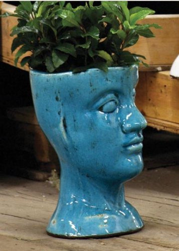 Ceramic Head Planter, Turquoise