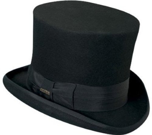 "Scala Classico Mad Hatter - Top Hat, Wool Felt, Grosgrain, 2"" Bound Brim - 7"" Crown Height, Black, L"