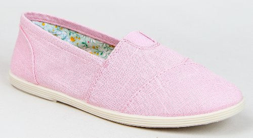 Soda OBJECT Women's Mock Tom's Slip On Canvas Linen Flats