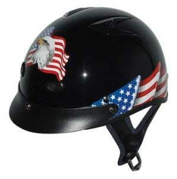Dot Vented Eagle Flag Black Motorcycle Half Helmet Beanie, Medium