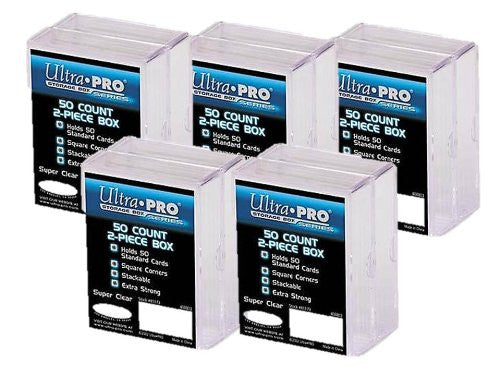 ULTRA PRO **(10x) 2-Piece Box** Holds 50 Cards Each PLASTIC STORAGE BOX Sports Cards & Gaming Decks