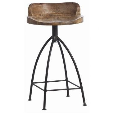 Henson Counter Stool, Sandblast Antiqued Wax/Natural Iron