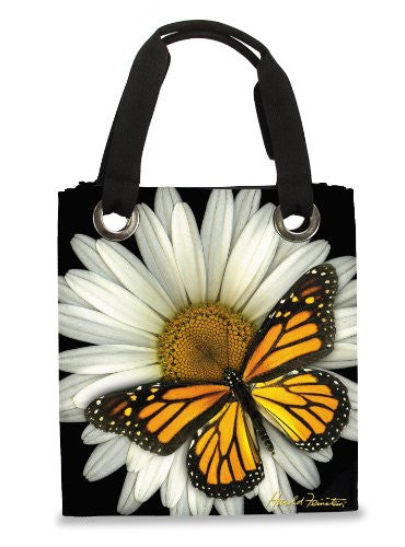 Harold Feinstein Modern Tote White Daisy Tote with Monarch
