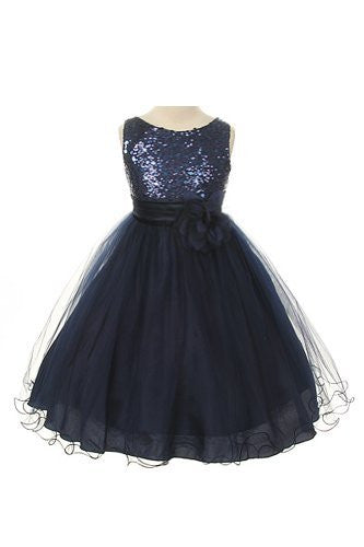 Stunning Sequined Bodice with Double Layered Mesh - Navy Blue, Size 4