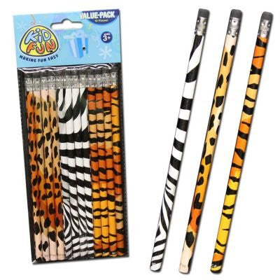 ANIMAL PRINT PENCILS - 12pcs