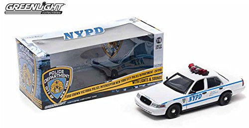 Greenlight NYPD - Ford Crown Victoria Police Interceptor New York City Police Department w/ Lights & Sounds (2001, 1/18 scale diecast model car, White)