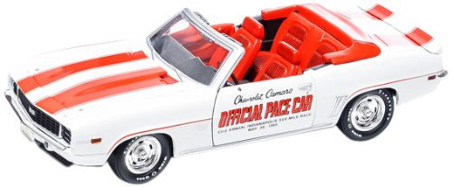 Greenlight - Chevrolet Camaro SS Convertible - Indianapolis 500 Pace Car (1969, 1/24 scale diecast model car, White w/ Stripes)
