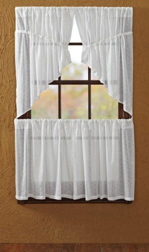 Sheer Dobby Weave Prairie Swag Unlined Set of 2 36x36x18""