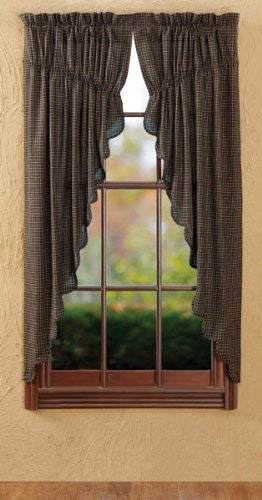 Kettle Grove Plaid Prairie Curtain Scalloped Set 2 63x36x18""