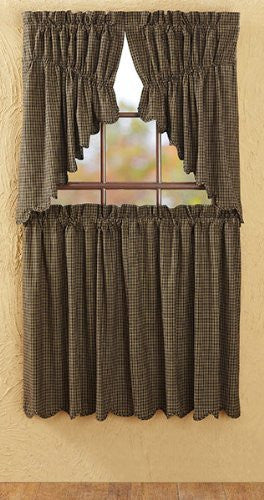 Kettle Grove Plaid Prairie Swag Scalloped Set of 2 36x36x18""