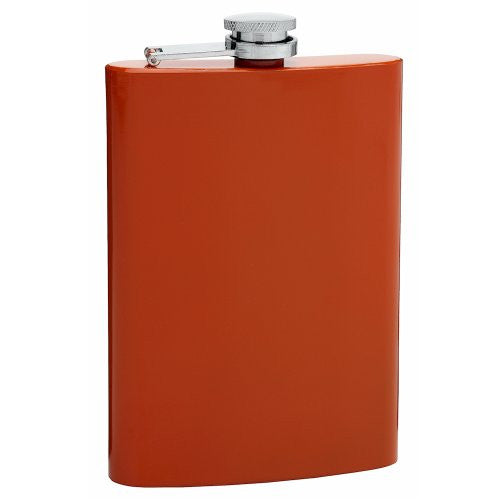 8oz Stainless Steel Hip Flask, Assorted Colors (Burnt Orange)