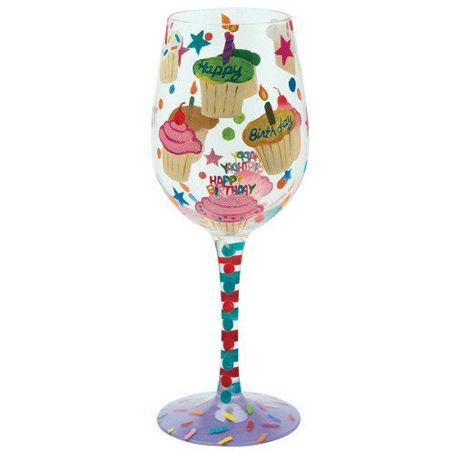 Lolita- Birthday Cupcakes Wine Glass, 15 oz