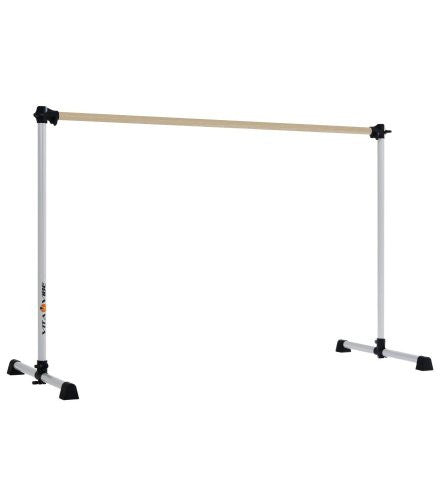 Vita Vibe Traditional Wood Ballet Barre - BNB5-W 5ft -Portable Single Bar w Carry Bag- Freestanding Stretch/Dance Bar - Vita Vibe - USA Made