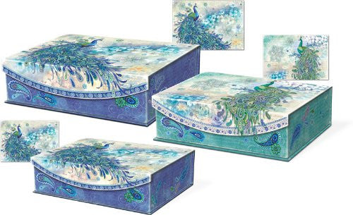 Paisley Peacock Large Nesting Flip Top Boxes with Magnetic Flap Closure