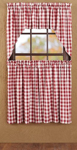 Buffalo Red Check Swag Lined Set of 2 36x36x16""