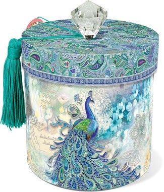 Paisley Peacock Boudoir Collection Toilet Tissue Holder with Lid