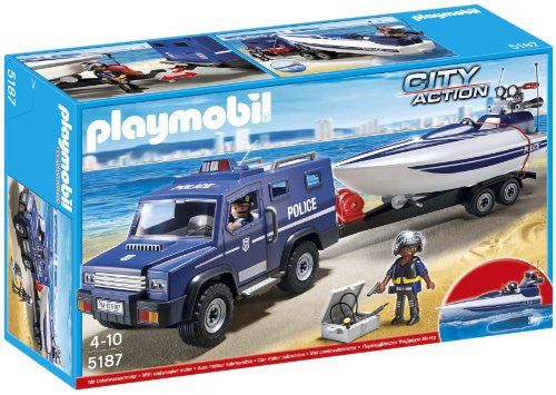 Police Truck with Speedboat