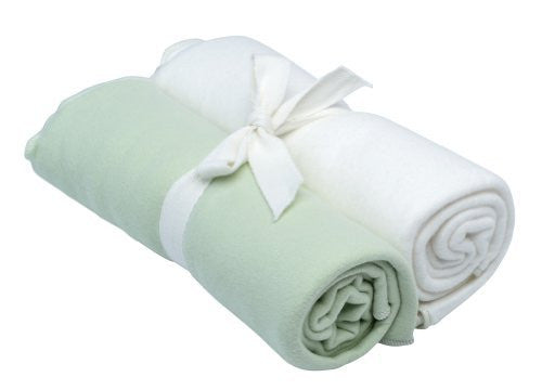 "Swaddle Blanket Green/White 34"" x 34"""