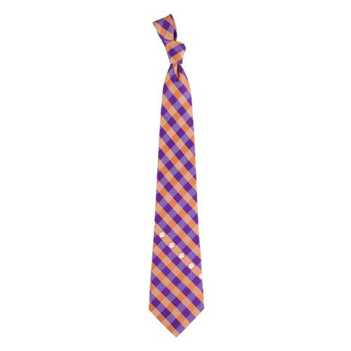 Clemson Tigers Tie Woven Poly Check