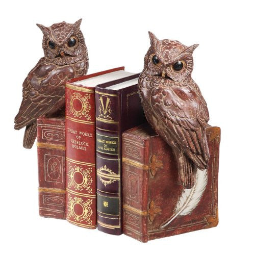 "12""H Resin Owl Bookends, Set of 2"