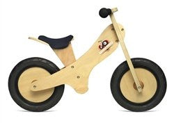 Natural Finish wooden balance bike with foot pegs, adjustable seat and EVA airless tires