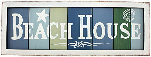 "Beach House"" Wood Slat Plaque 89-2434"