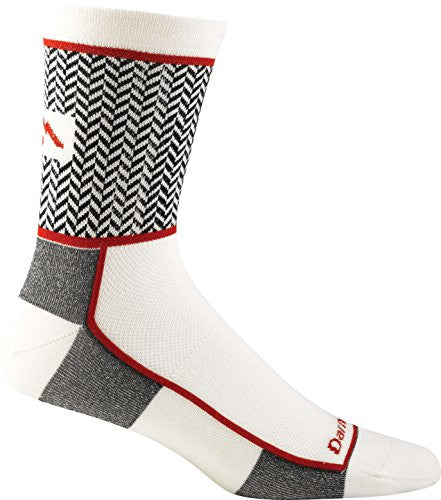 Men's Herringbone Micro Crew Ultra Light (merino) - White/Red XL