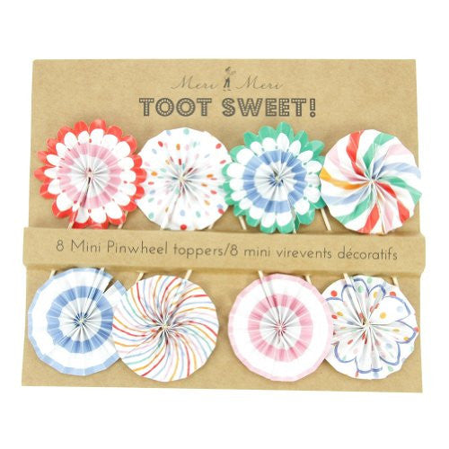 "Toot Sweet Mini Pinwheel Toppers - 8 pcs - 9"" x 7"""