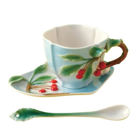 Two's Company Garden Party Cherry Tea Set Cup Saucer Spoon