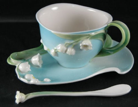 Two's Company Garden Party Lily Of The Valley Tea Set Cup Saucer Spoon