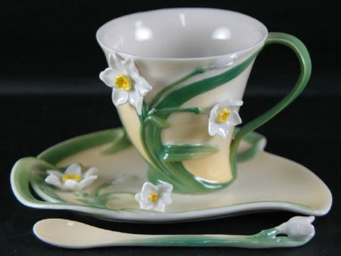 Two's Company Garden Party Narcissus Tea Set Cup Saucer Spoon