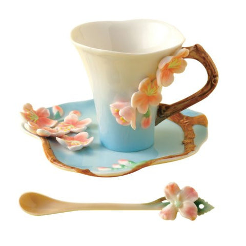Two's Company Garden Party Cherry Blossom Tea Set Cup Saucer Spoon