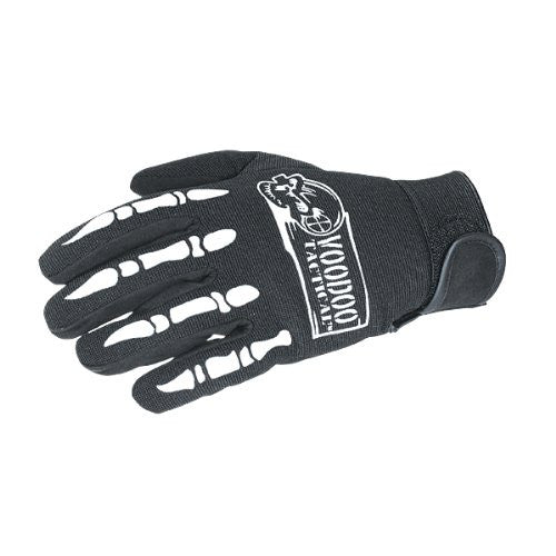 "VOODOO TACTICAL ""BONES"" GLOVES, GRAY ON BLACK"