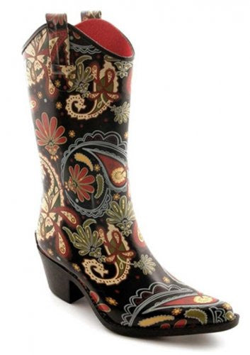 Rodeo Women's Rain Boots - Paisley (Size 6)