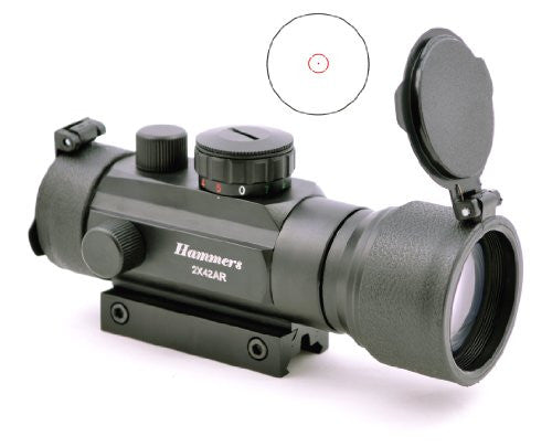 Red Dot Scope 2x42AR, Reversible Weaver/.22 Rail Mounts, 2x Power, Flip Cap