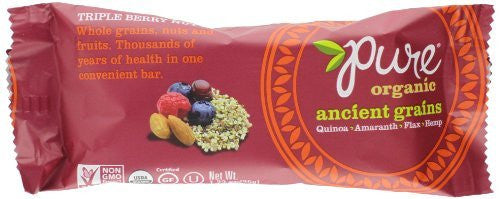 Pure Organic Ancient Grains Nut Bar, Triple Berry, 12 Count