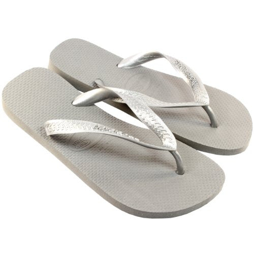 Womens Havaianas Top Metallic Flip Flop Sandals - Grey/Silver - 9