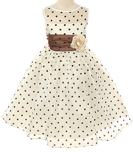 Lovely Organza Polkadot Dress with Sheer Illusion Neckline - Ivory/Brown Dots, Size 6