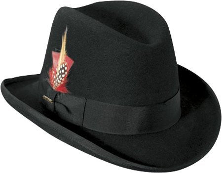 Scala Classico Men's Wool Felt Homburg Hat (Black / Small)