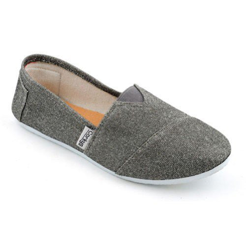 SUES Glitter Canvas Women's Flats - Pewter (Size 8)