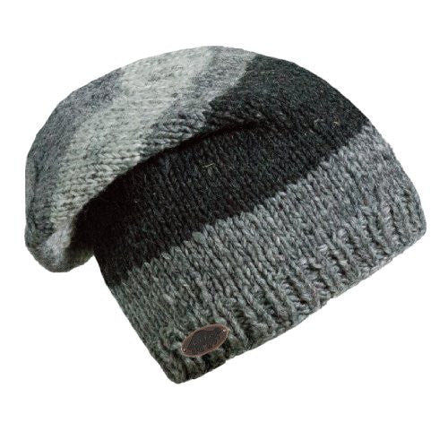 Men's Nepal Sanjay, Artisan Hand Knit Wool Slouch Hat, Graphite