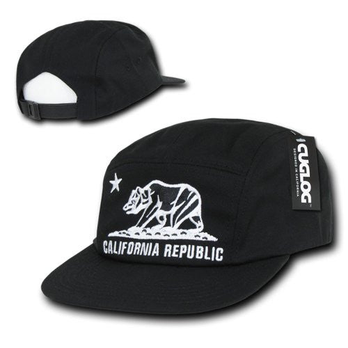 5 Panel Racer Cap - Cali Bear,  Black