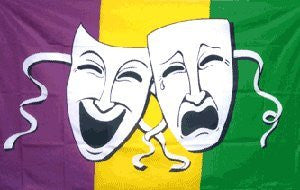 Mardi Gras Comedy & Tragedy Poly Flag - 3'x5'