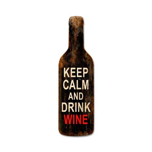 Keep Calm Merlot custom metal shape measures 8 inches by 26 inches
