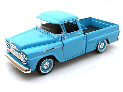 Motormax Premium American - Chevy Apache Fleetside Pickup Truck (1958, 1/24 scale diecast model car, Light Blue)