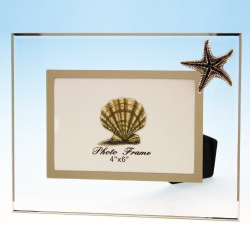 "Pewter on Glass Photo Frame with Starfish, 4"" x 6"""