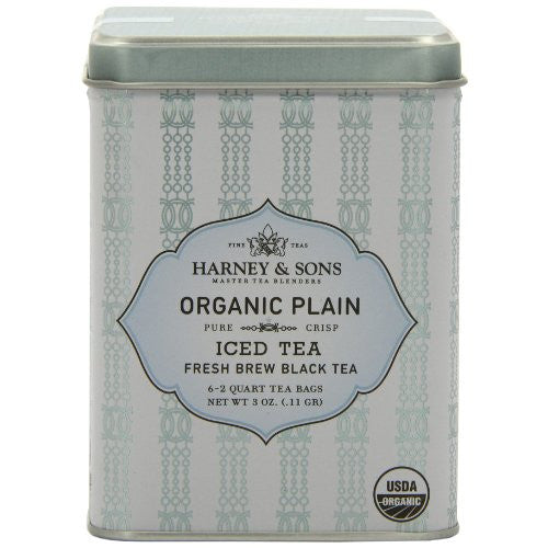 Harney & Sons Organic Plain Black Iced Tea, 6 Brew Pouches